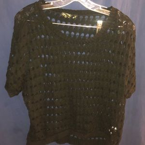 Black crochet netted top very punk rock goth glam